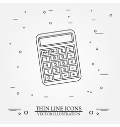 Calculator thin line design Calculator pen Icon Ca vector image