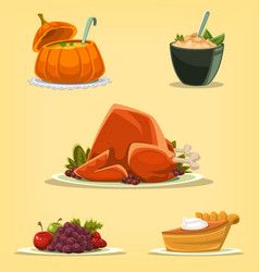 Cartoon isolated thanksgiving dish turkey pumpkin vector