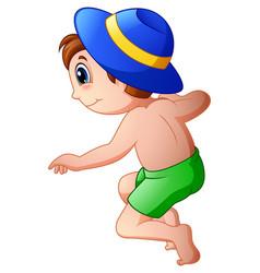 cartoon little boy wearing a hat jumping vector image
