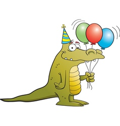 Cartoon party alligator vector