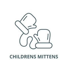 childrens mittens line icon childrens vector image