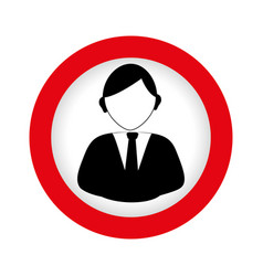 Circular emblem with half body man in formal suit vector