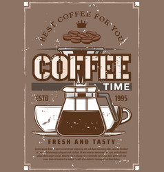 Coffee machine moka pot cups beans vector