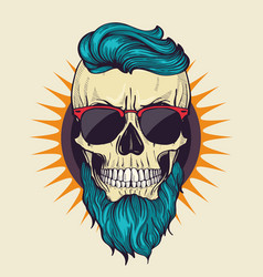 color angry skull with hairstyle vector image
