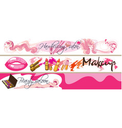 colored doodle cosmetic horizontal banners vector image