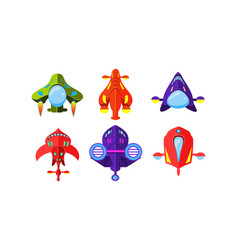 colorful fantasy aircrafts set airplanes vector image