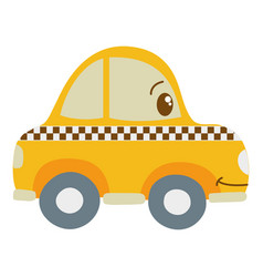 Colorful kawaii happy taxi car transport vector