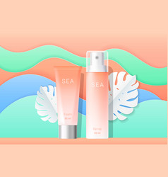 Cosmetics spray and cream tubes ads template vector