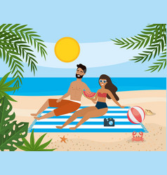 couple taking sun in beach vector image
