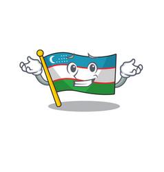 Cute and cool grinning flag uzbekistan scroll vector