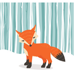 cute fox cartoon fox flat style withwinter vector image