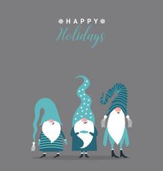 cute gnomes christmas card vector image