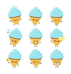 Cute happy smiling ice cream cone set collection vector