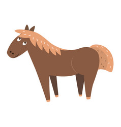 Cute horse cartoon flat sticker or icon vector