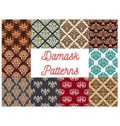 Damask seamless decoration patterns set vector
