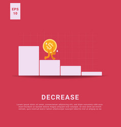 Decrease rate and lost income iconic money vector