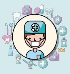 dentist boy character professional cartoon vector image