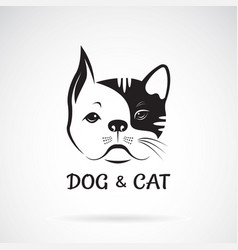 dog face and cat face design on a white vector image