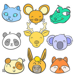 Doodle of cute animal colorful style vector