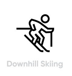 downhill skiing sport icons vector image