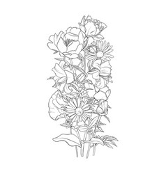 Drawing background with flowers vector