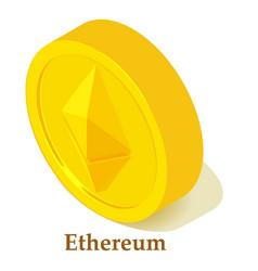 Ethereum icon isometric style vector