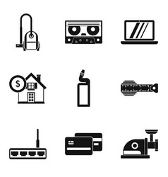 family life icons set simple style vector image
