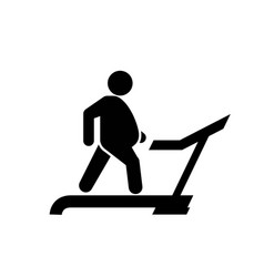 Fat man on treadmill icon physical exercise to vector