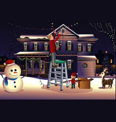 father son putting up lights around house vector image