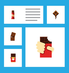 flat icon bitter set of sweet chocolate bar vector image