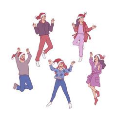 flat sketch man woman santa hat fun vector image
