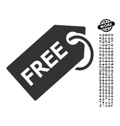Free tag icon with work bonus vector