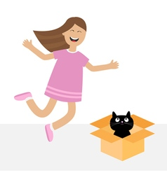 Girl jumping Gift box with black little cat animal vector