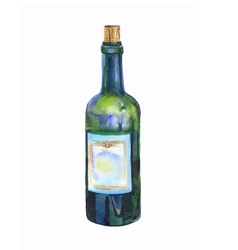 green bottle of wine watercolor prewew vector image