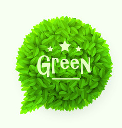 green leaves circle speech bubble isolated on vector image vector image