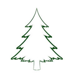 green silhouette pine tree christmas celebration vector image