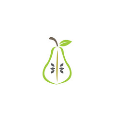 half pear green fruit with leaf and seed for logo vector image