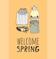 Hand drawn fashion wear and quote hello spring vector