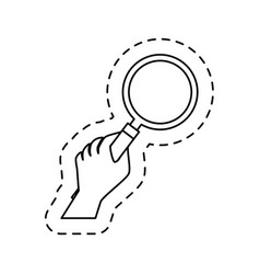 Hand human with magnifying glass icon vector