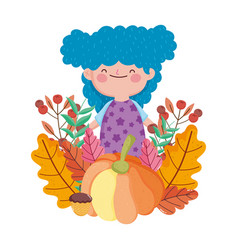 happy thanksgiving day girl with blue hair and vector image