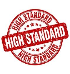 high standard red grunge round vintage rubber vector image