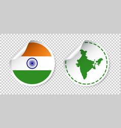 India sticker with flag and map label round tag vector