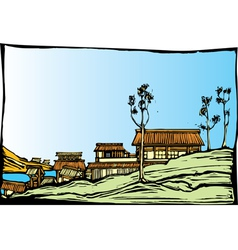 Japanese Village vector