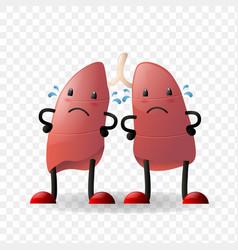 Lungs human internal organ realistic character vector