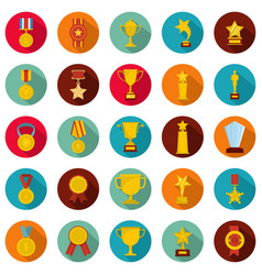 medal award icon set flat style vector image