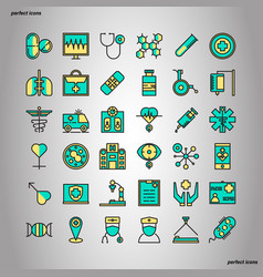 medical and healthcare color line icons perfect vector image
