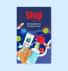 Medical poster design with hands washing gel vector