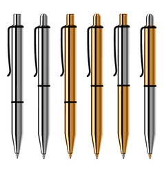 metallic ballpoint pens vector image