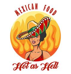 mexican food retro label with woman in sombrero vector image