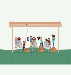 mini people playing in the park vector image